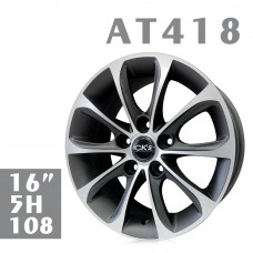 AT418 鋁圈 16吋7J 5孔 PCD108 鐵灰拋光
