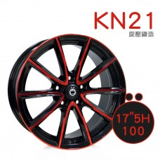 KN-21 鋁圈 17吋7.5J 5孔 PCD100 亮黑底+紅拋